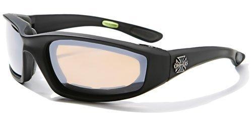 Choppers Nachtfahrreit Padded Motorradbrille 011 Black Frame mit gelben Linsen 2 Schwarz Mittel Silber - Rauch-Objektiv