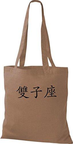 ShirtInStyle Stoffbeutel Chinesische Schriftzeichen Zwillinge Baumwolltasche Beutel, diverse Farbe caramel