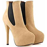 NVXIE Damen Neue Kurze Stiefel Stilett High Heel Nike Dunk Sky Hallo Schuhe Martin Stiefel Plattform Runde Kopf Wildleder Herbst Winter Party Arbeit