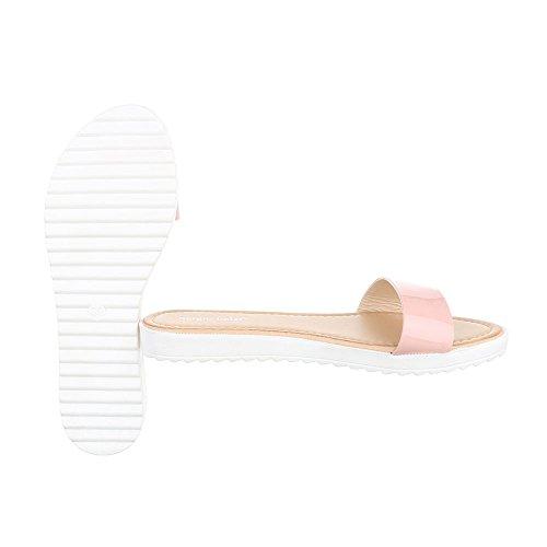 Pantoletten Damenschuhe Jazz & Modern Leichte Ital-Design Sandalen / Sandaletten Rosa T165