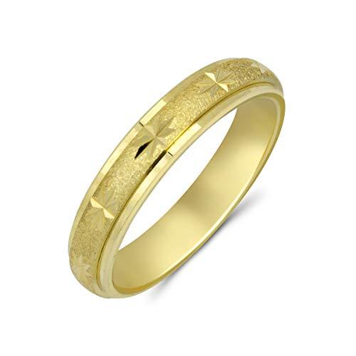 Goldring 585 Gold massiv Gelbgold 14 Karat Damen Bandring breiter Ring ohne Stein Gr 48 bis 62 4mm (50 (15.9))