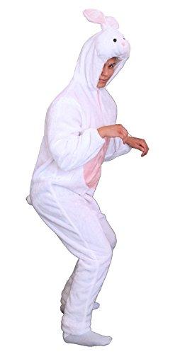 Foxxeo Premium Plüsch Hasen Kostüm für Erwachsene Damen und Herren Tierkostüm Overall Jumpsuit Größe XL