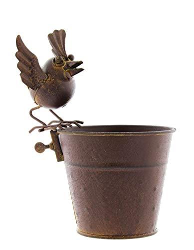 Pflanzgefäß aus rostetem Metall, mit Vogelaufsatz, 11,4 cm Bridge-becher