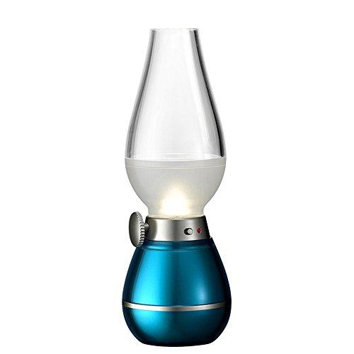 GUORZOM Vintage Magic Nachtlicht LED Kerosin Lampe Mit Einstellbarem Licht Bläst USB Gebühr Schlafzimmer Lampe, Blue