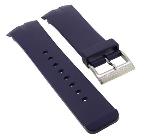 Nautica Ersatzband | Uhrenarmband aus Kunststoff in blau mit Schließe silberfarben | A14665G