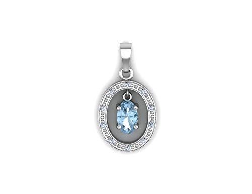 9 Karat (375) Weißgold Diamant Blautopas & & Kette Anhänger Wert £ @~145