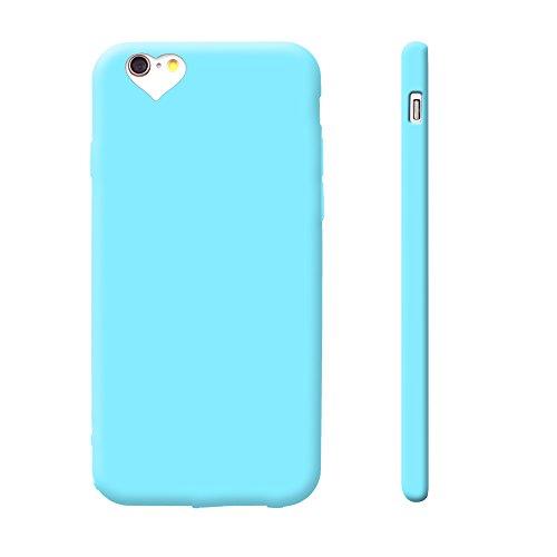 iProtect TPU Schutzhülle Apple iPhone 6, 6s Soft Case in matt Rosa love hellblau