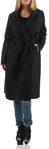 malito Damen Mantel lang mit Wasserfall-Schnitt | Trenchcoat mit Gürtel | weicher Dufflecoat | Parka �?Jacke 3050 Schwarz