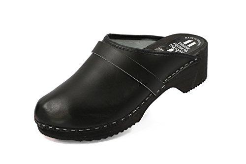 Preisvergleich Produktbild Schweden Clogs aus echtem Leder Farbe Schwarz, Schuhgröße:43