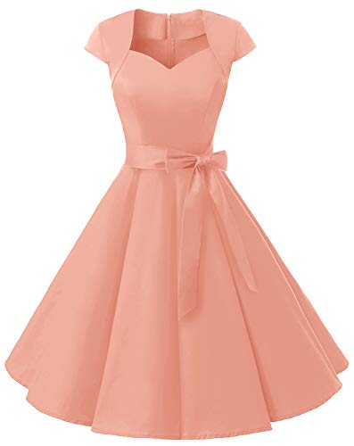 MuaDress 1960 Damen Vintage Kleid Rockabilly 1950er Retro Cocktailkleider Einfarbig Blush XS