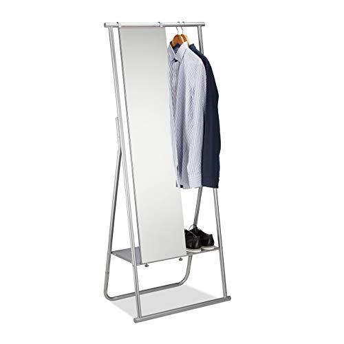Relaxdays Perchero con Espejo Cuerpo Entero, Acero, Plateado, 156.5 X 64.5 X 39 cm