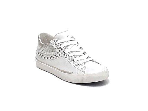Crime scarpa donna, modello 25060, sneaker in pelle e rivetti, colore bianco e argento