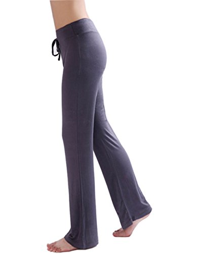 HOEREV Doux Modal Minceur Lounge Pantalon yoga pantalon de pyjama femmes Pant Gris foncé