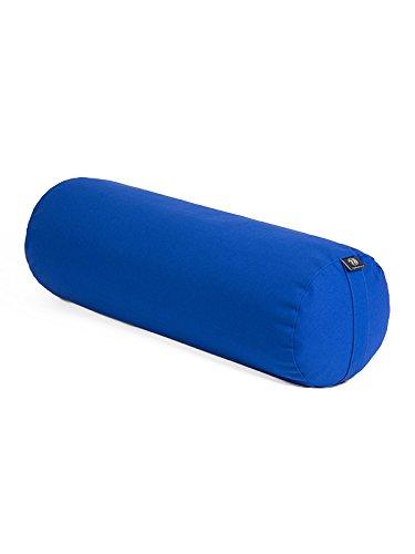 Yoga Studio - Cuscino a cilindro Bolster, per yoga, in grano saraceno biologico, prodotto a mano in Europa, Sapphire