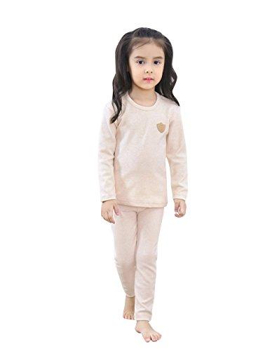 2 Pezzi Set Biancheria Intima Termica per Bambini (110CM,Beige)