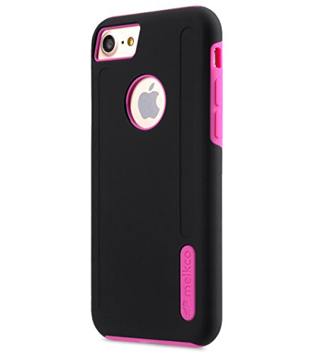 Apple Iphone 7 Melkco Jacka Type Premium Leather Case with Premium Leather Hand Crafted Good Protection,Premium Feel-Red LC Black/Pink