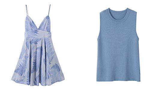 ZDSYYK High Waist Slim Outer Strap Temperament Print Long Suit Dress (M) - Wide Sleeve Print Kleid