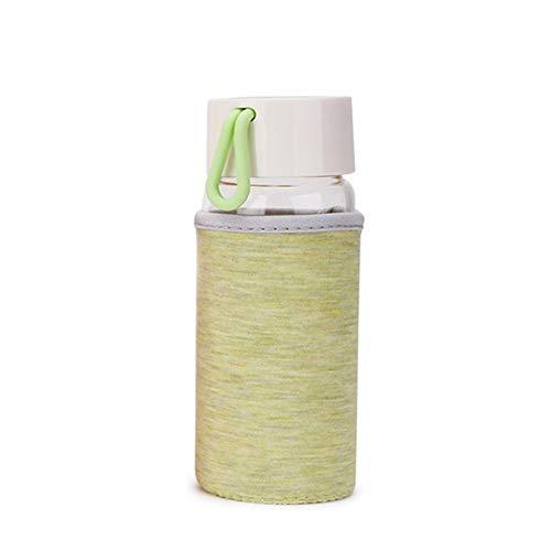Doitsa 200ml/300ml Mini Mignon Botella de Agua de Vidrio borosilicato, con Mango de Neopreno, para niño niña, para Coche, Viaje, Deporte, Escuela, Vert-200ml, 6 * 6 * 12.5cm