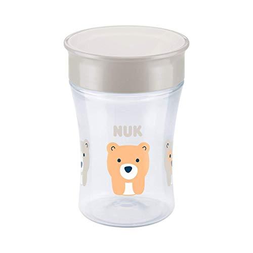 NUK Magic Cup 360° tasse d'apprentissage, rebord antifuite 360°, sans BPA, à partir de 8 mois, 230ml, ours (transparent)