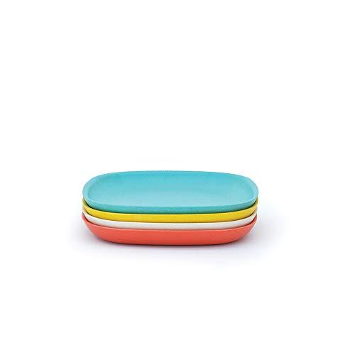 BIOBU Gusto by eKOBO 34635 Assiettes à Salade - 2 Persimmon/Blanc/Bleu Lagon/Jaune Citron