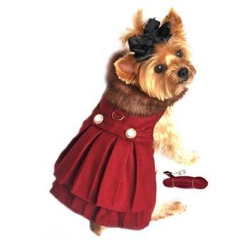 Hund Design Burgund Wolle mit weichem Plüsch Kunstfell Halsband Hundegeschirr Mantel mit passender Leine Größe M (Brust 16-19, Hals 13-16,-Pets Gewicht von 11-6,8kg) Pleated Faux Wrap