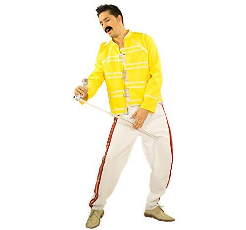 Limit Sport Herren Kostüm Rockstar Sänger Freddie weiß gelb Karneval Rockstar - Freddie Wembley Kostüm
