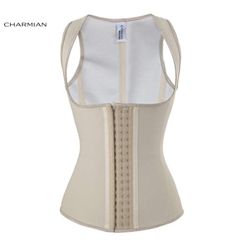 HITSAN Charmian Women's Latex Underbust Waist Trainer Cincher Body Shaper Corset Vest Spiral Steel Boned Corsets and Bustiers Shapewear Color Ivory Corset Size XS