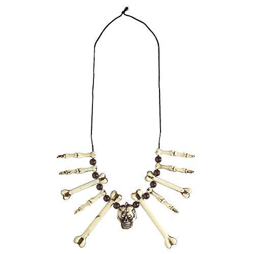 Widmann 01204 Halskette Schädel und Knochen, Unisex- Erwachsene, Weiß, One Size