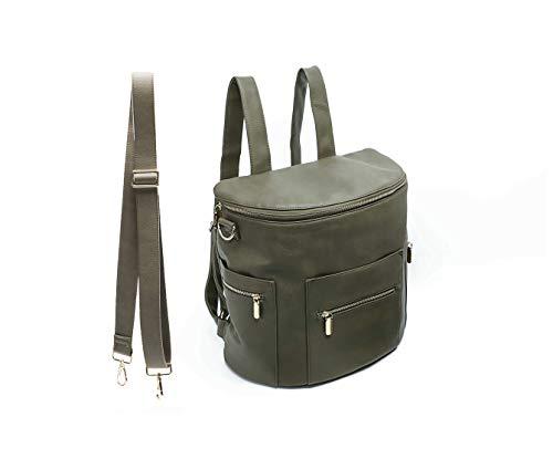 Lederrucksack Damen von Miss Fong, Kleiner Rucksack Mini Rucksack Damen Mit Schultergurt und Isolierter Tasche (Olive)