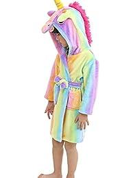 eBoutik Estrella de Chicas Arco Iris Sirena Unicornio Albornoz Bata 3D Cuerno Mágico Púrpura Rosa Amarillo Pijamas Pijamas (Edad 5-7, Unicornio…