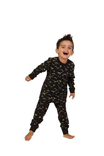 ThePyjamaFactory Cool Dinosaur All Over Print Long PJS Black and Green