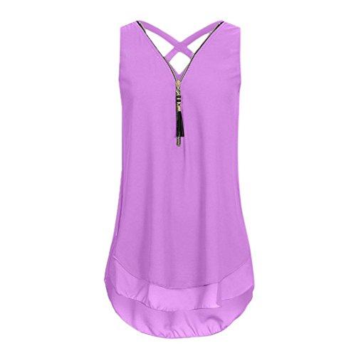 VEMOW Heißer Verkauf Sommer Damen Mädchen Frauen Tägliche Beiläufige Art und Weise Lose Sleeveless Trägershirt Kreuz Zurück Saum Layed Zipper V-Ausschnitt T-Shirts Tops Pullover(Lila, EU-44/CN-XL) (Baumwolle Hooded Henley)