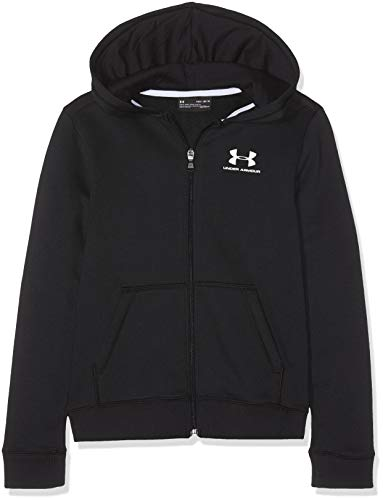 Under Armour Jungen EU Cotton Fleece Full Zip Oberteil, Schwarz, YXS Long Sleeve Full Zip Fleece