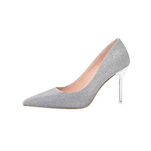 MLMHLMR High Heels Temperament sexy Pailletten Kleid Schuhe Hochzeit Schuhe Sandalen Stiletto Heels 9 cm 4 Farben High Heels für Damen (Color : W-4, Size : EU37/UK4.5-5/CN37) Edel Stiletto