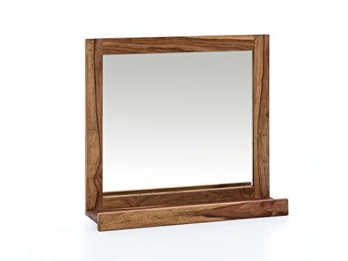 Woodkings® Spiegel Lagos 70x66 cm Echtholz Rahmen Palisander Badspiegel Wandspiegel mit Ablage Badmöbel Badezimmermöbel Massivholz