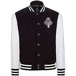 Red Bull Chaqueta Batalla de los Gallos Original Ropa de Hombre y Mujer en Negro y Blanco Hip Hop Rap Freestyle Streetwear, Unisex Black & White College Jacket