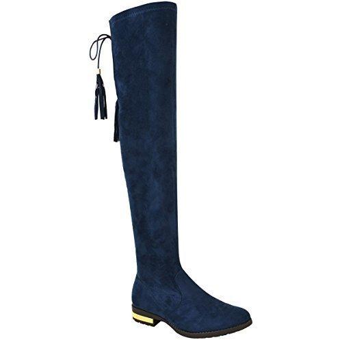 Femmes Au Dessus Du Genou Bottes Plates Faux Daim Bas Gland Chaussures Pointure Bleu Marine Daim Synthétique