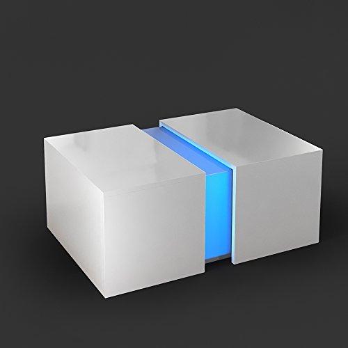 Couchtisch LED Weiss Hochglanz Loungetisch Wohnzimmer Tisch