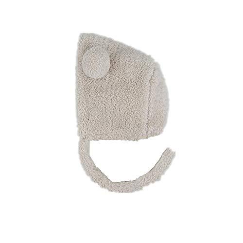 Baby Girl Boy Toddler Winter Cute Double Ball Plus Velvet Baby Winter Hat Jing Shu Plush Baby Warm Hat (Color: Beige)