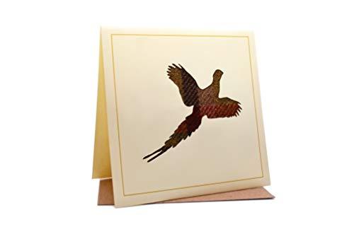 Lambacraft Geburtstagskarte mit Fasan-Design, Tweed, Tartan, Wolle, Stoff, Silhouette, mit blanko Innenteil, 1 Stück -