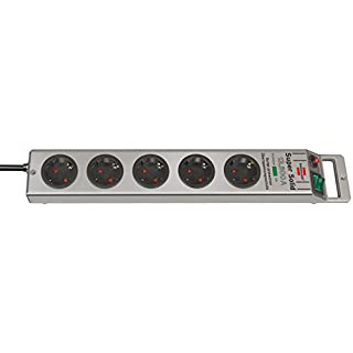Brennenstuhl Super-Solid, Steckdosenleiste 5-fach mit Überspannungsschutz (2,5m Kabel und Schalter - aus bruchfestem Polycarbonat) Farbe: Silber