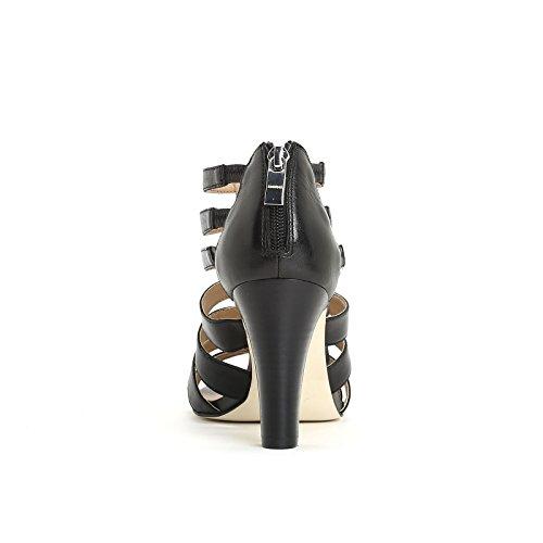 ALESYA by Scarpe&Scarpe - Sandales hautes avec bandeaux, en Cuir, à Talons 8 cm Noir