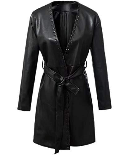CuteRose Womens Tops Outwear Belted V Neck Jacket Trench Coat Jacket Black XS