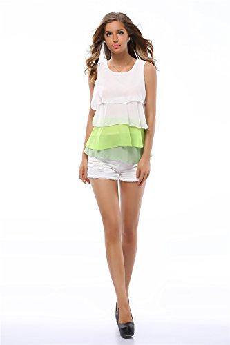 szivyshi Senza Maniche Chiffon Multi-Layered Fondo a volant Gradient Color Blouse Blusa Camicetta Shirt Camicia Vest Canotte Top Verde