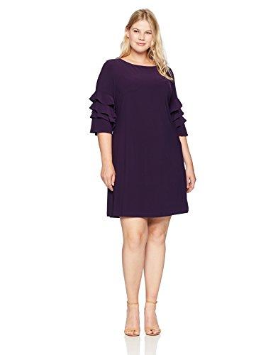 Deep Purple Dress (GABBY SKYE Damen Woman's Plus Size Cha Sleeve Dress Kleid, deep Purple, 18W)