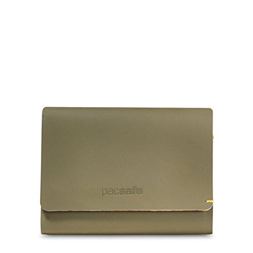 Pacsafe RFIDsafe TEC Trifold Wallet für bis zu 10 Kreditkarten, 2 Easy Access Steckfächer, Portemonnaie mit Anti-Diebstahl Schutz, dünner PU Geldbeutel, Braun/Utility -