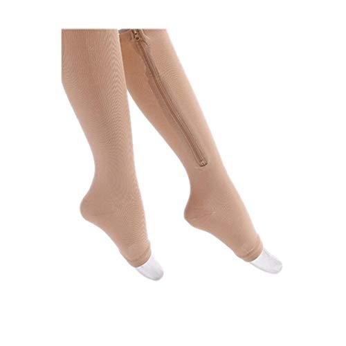 Bongles Unisex Zipper Kompressionsstrümpfe öffnen Zehe-Bein-Stützkniestrümpfe Medizinische Kniehohe Für Abgestufte Unterstützung Krankenschwestern Schmerzen Und Schwellungen Wasserretention Und Ödeme - Kniehohe Stützstrümpfe