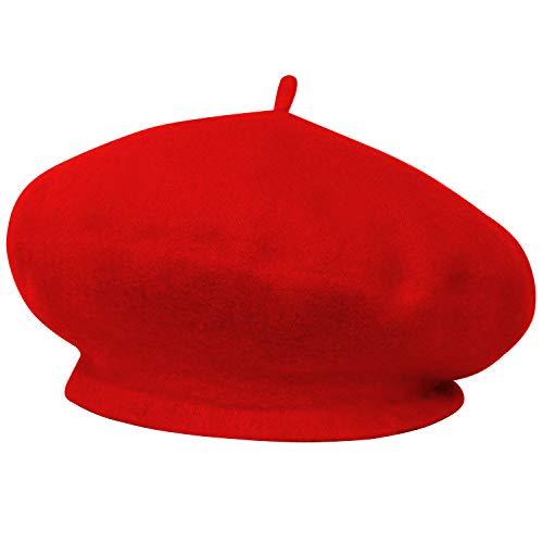 Trixes Französische Baskenmütze in modischem Pink klassishe Rot Künstlermütze