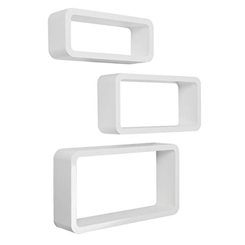 LEMAIJIAJU Wandregal 3er Set Cube Regal Schweberegal Würfelregale Hängeregal Wandboard Weiß