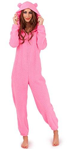Damen Superweich Einteiler Mit Kapuze Onezee Kuschlig Kuschelig Teddybär Häschen, Rosa oder Creme Rosa